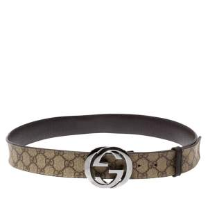 Gucci Beige GG Supreme Canvas Interlocking G Buckle Belt 95CM