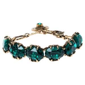 Gucci Crystal Embellished Gold Tone Bracelet