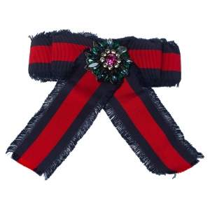 Gucci Crystal Web Grosgrain Bow Brooch