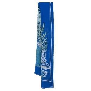 Gucci Blue Floral Print Chiffon Ladigor Stole