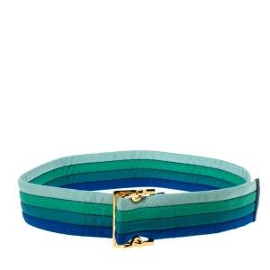 Gucci Multicolor Canvas Colorblock Square Buckle Belt 90CM
