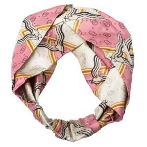 Gucci Pink Snake Rhombus Print Silk Headband M