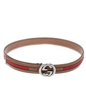 Gucci Brown Leather Web Interlocking G Belt 80cm