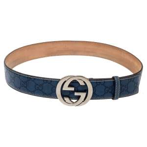 Gucci Blue Guccissima Leather Interlocking G Buckle Belt 85CM