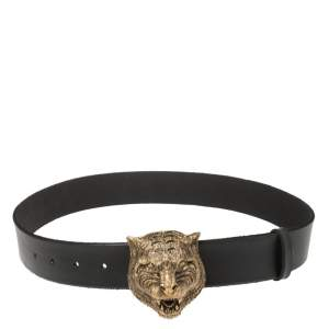 Gucci Black Leather Tiger Buckle Belt 80CM