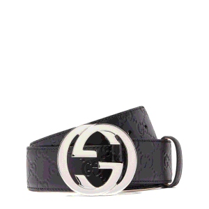 Gucci Black Leather Signature GG Belt
