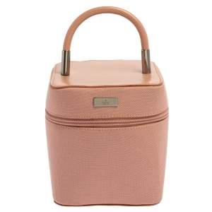 Gucci Pink Canvas and Leather Vanity Top Handle Bag