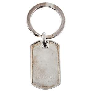 Gucci Sterling Silver Dog Tag Key Ring
