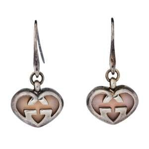 Gucci Love Britt Pink Stone Silver Drop Hook Earrings
