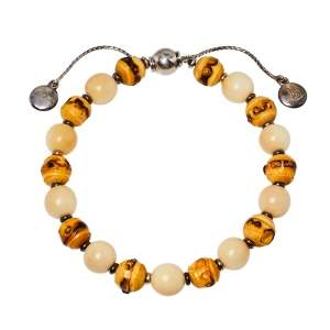 Gucci Bamboo Wood & Tagua Beads Silver Adjustable Bracelet Size 17
