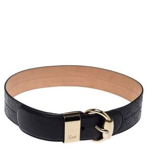 Gucci Black Guccissima Leather Wide Belt 105CM