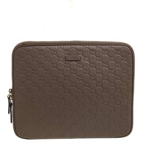 Gucci Light Brown Guccissima Leather Laptop Zip Around Case