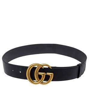 Gucci Black Leather GG Marmont Buckle Belt 75CM