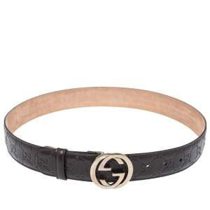 Gucci Brown Guccissima Leather Interlocking GG Buckle Belt 85CM