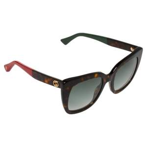 Gucci Havana with Red and Green/Grey Gradient GG0163S Square Sunglasses