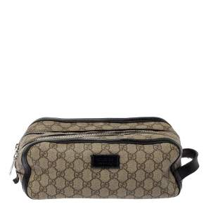 Gucci Beige/Black GG Supreme Canvas Toiletry Case