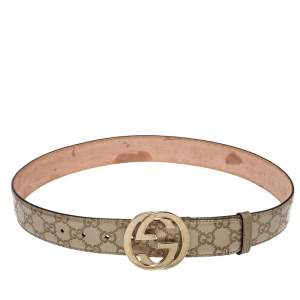 Gucci Metallic Gold Guccissima Leather Interlocking G Buckle Belt 85CM