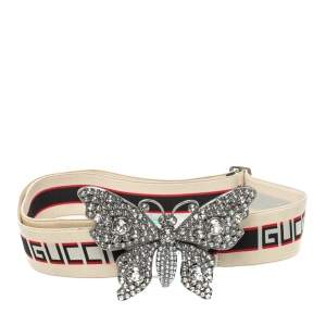 Gucci White Elastic Band Crystal Embellished Butterfly Buckle Belt 90 CM