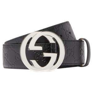 Gucci Black Leather Signature Unisex Belt