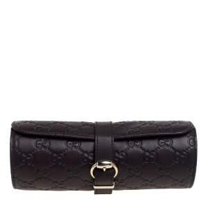 Gucci Dark Brown Guccissima Leather Watch Case