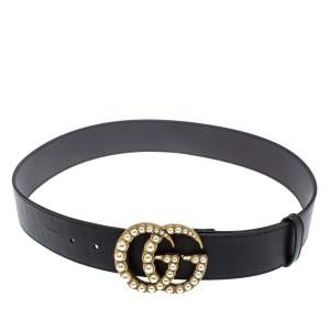 Gucci Black Leather GG Pearl Embellished Double G Buckle Belt 85 CM