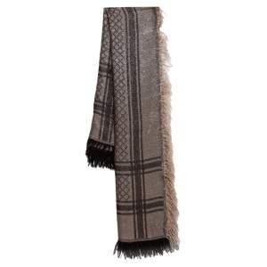 Gucci Metallic Beige & Brown Guccissima Fringed Silk & Wool Shawl