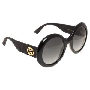Gucci Black/ Grey Gradient GG0101S Shimmer Round Sunglasses