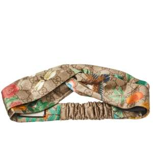 Gucci Beige Logo Monogram Tian Printed Silk Headband