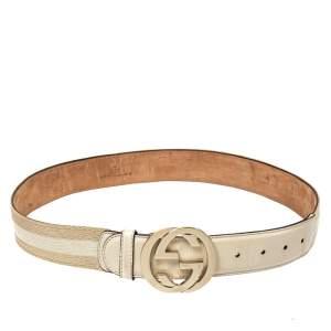 Gucci White/Beige Web Canvas and Leather Interlocking G Belt 80CM