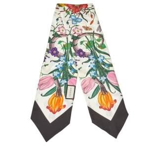 Gucci Ivory & Black Flora Snake Print Silk Neck Bow