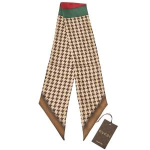 Gucci Brown Houndstooth Web Print Silk Neck Bow Bandeau