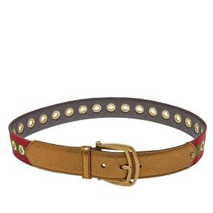 Gucci Gold Leather and Canvas Web Grommet Buckle Belt 85 CM