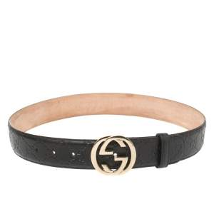 Gucci Black Guccissima Leather Interlocking G Buckle Belt 80CM
