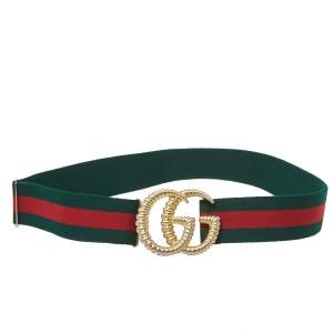 Gucci Green/Red Web Elastic Torchon Double G Buckle Belt 85CM