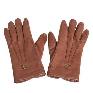 Gucci Brown Soft Leather Interlocking G Gloves Size L