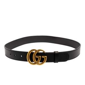 Gucci Black Leather GG Marmont Buckle Belt 80CM