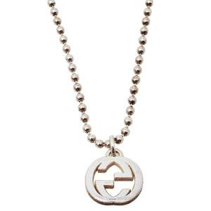 Gucci Sterling Silver Interlocking GG Pendant Necklace