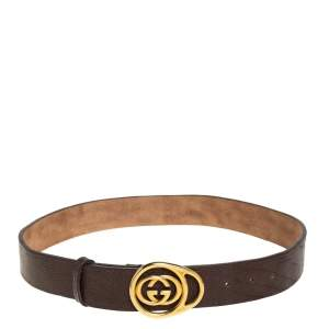 Gucci Dark Brown Leather Double G Buckle Belt 85CM