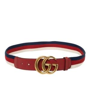 Gucci Red Canvas and Leather Web GG Buckle Belt 85CM