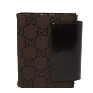 Gucci Brown GG Nylon and Leather Agenda Planner