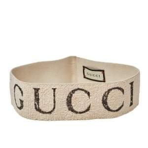 Gucci Beige Logo Printed Cotton Elastic Head Band