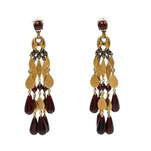 Gucci Aged Gold Tone Garnet Beaded Chandelier Earrings