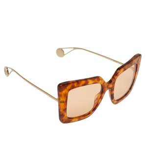 Gucci Brown Havana/ Orange GG0435S Oversized Sunglasses