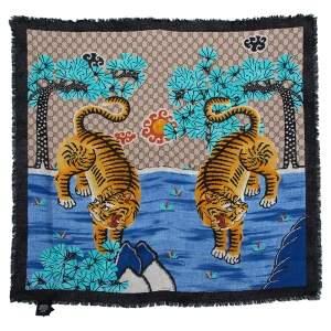 Gucci Blue Bengal Tiger Print Silk Scarf