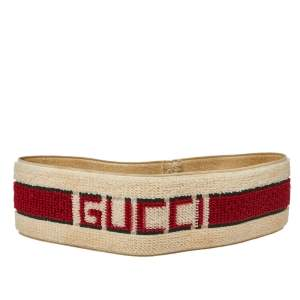 Gucci Cream Striped Logo Terry Elastic Head Band