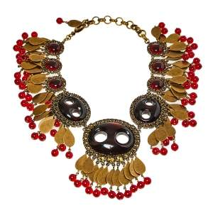Gucci Aged Gold Tone Crystals & Bead Charm Statement Necklace
