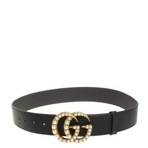 Gucci Black Leather GG Pearl Embellished Double G Buckle Belt 80CM