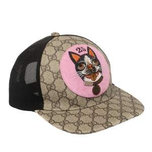 Gucci Beige Supreme Monogram Bosco Applique Baseball Cap