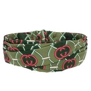 Gucci Green Logo Print Wrap Silk Headband