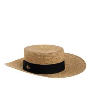 Gucci Gold & Black Bee Detail Lamé Papier Hat S